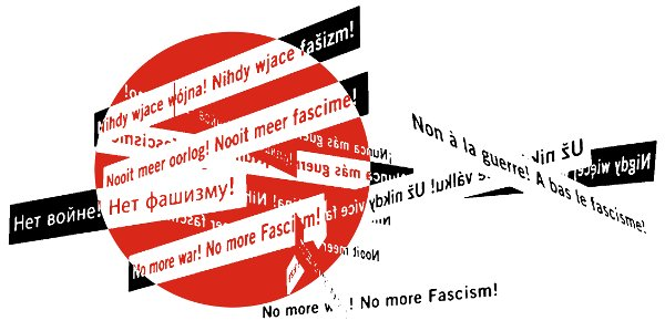 No pasarán-Motiv: Kreis mit verschiedenen Sprachen: No more war! No more fascism!