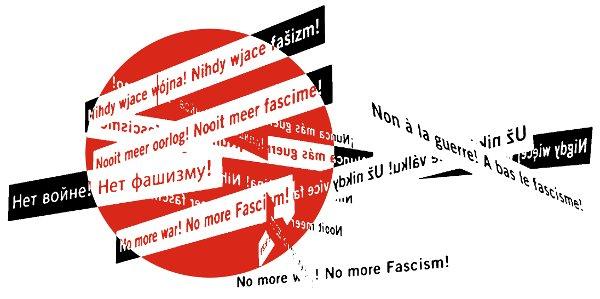 No pasarán-Motiv: Kreis mit verschiedenen Sprachen: No more war! No more fascism!