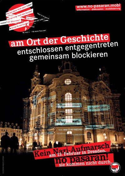 No pasarán-Plakat mit Frauenkirchenmotiv: Nie wieder Krieg, Nie wieder Faschismus