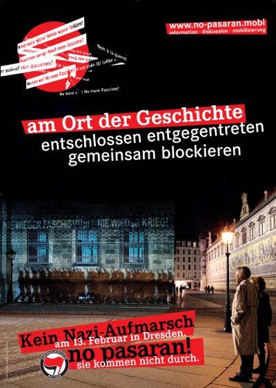 No pasarán-Plakat mit Fürstenzugmotiv: Nie wieder Faschismus! Nie wieder Krieg!