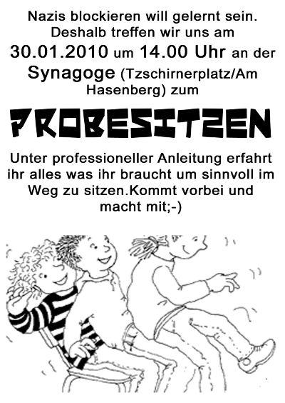 öffentliches Probesitzen am 30.1.2010 an der Synagoge