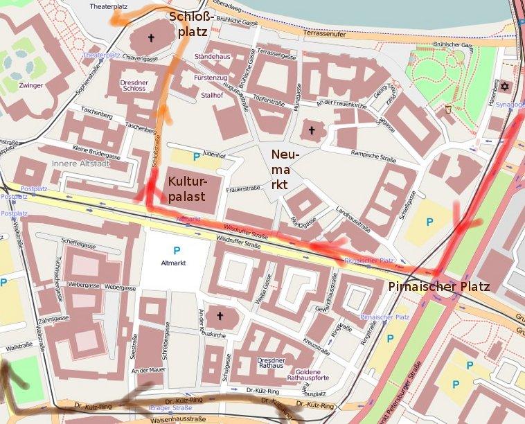 Übersichtskarte - Rot: Gelaufene Route No pasarán-Demo; Orange: Weitere Demoroute von No pasarán, zum Teil von der Demo durchgesetzt; Braun: Naziroute zeitgleich